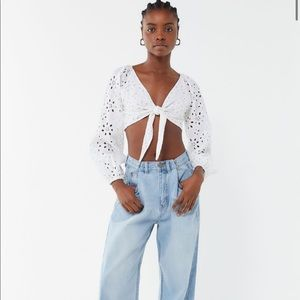 UO Louisa tie front cropped top